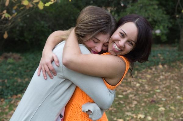 hug laughing
