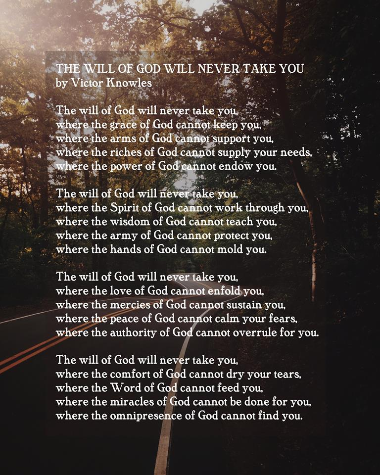 the will of God will never take you