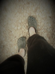 melanie feet crocs and driveway step