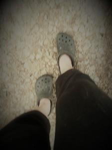 melanie feet crocs and driveway step