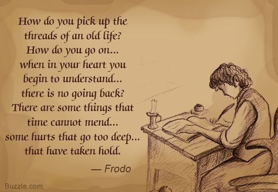 how do you pick up threads of an old life frodo at desk
