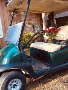 golf cart and roses