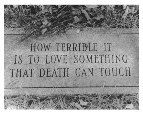 how terrible it is to love somthing that death can touch memorial stone