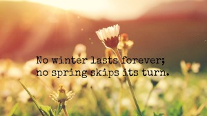 no winter lasts foreer and no spring skips its turn
