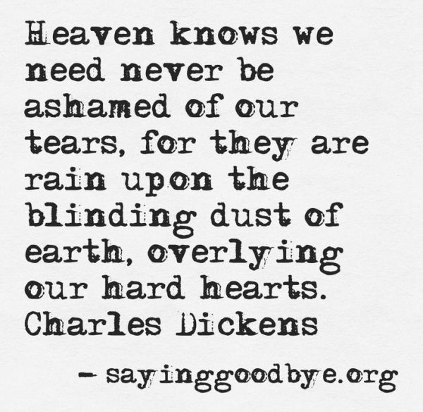 heaven knows we need never be ashamed of tears