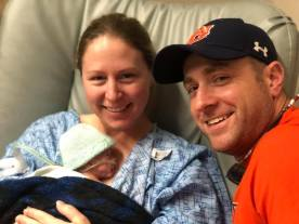 james michael lillie and ryker in hospital smiling