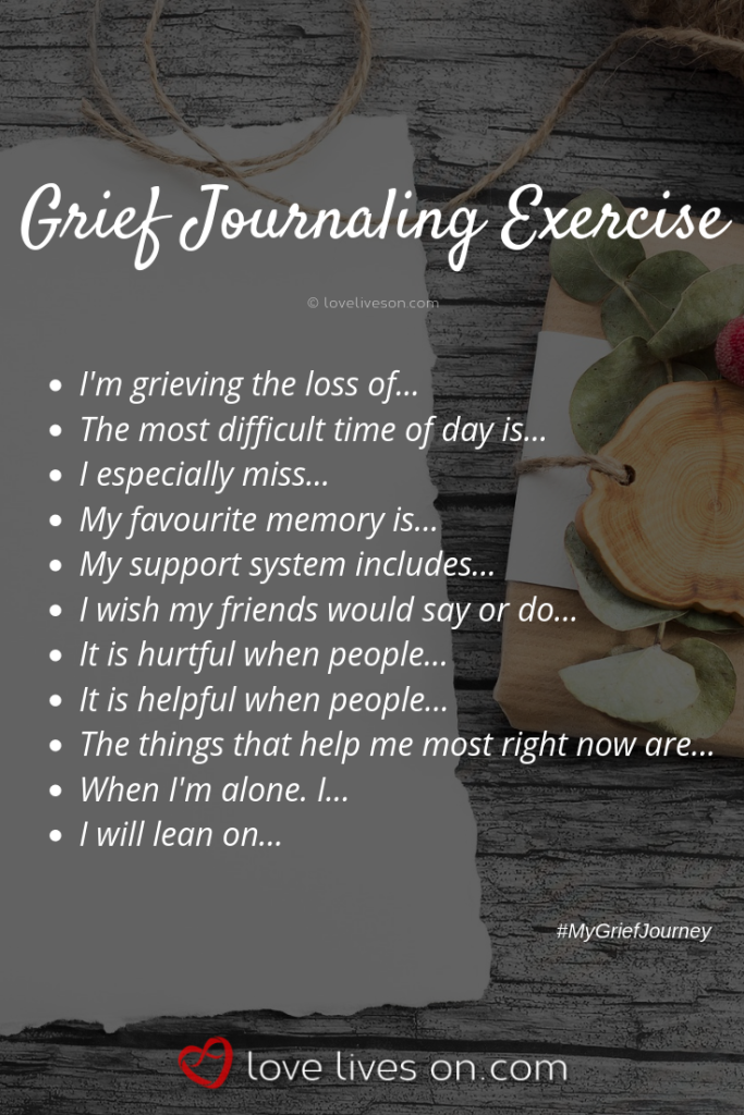 grief journaling exercise